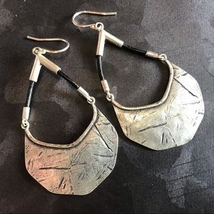 Silpada sterling silver and leather earrings